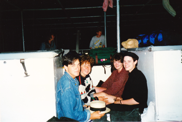 Jerry Lee, Cornelia, Nicola, and me on the ferry from ... Athens to Santorini maybe?