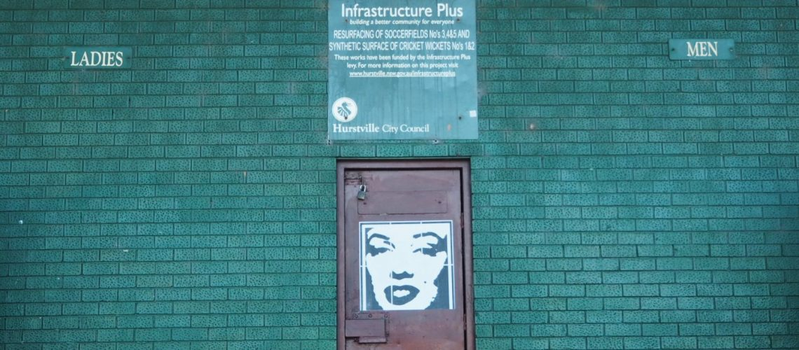 Dark green brick wall of toilet block - Andy Warhol image of Marilyn affixed to brown door in centre; signs for Ladies and Men along with council sign about their good works